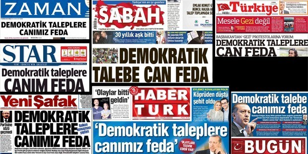 """Pro-government newspapers, all coming up with the same headline on the same day at the time of Gezi Park protests. This was before the fight between Erdoğan and Gülen Movement, so we can also see Zaman and Bugün, pro-Gülen Movement newspapers. They all quoted the same part of Erdoğan's speech on Gezi Protests:""""We will sacrifice our lives for democratic demands."""""""
