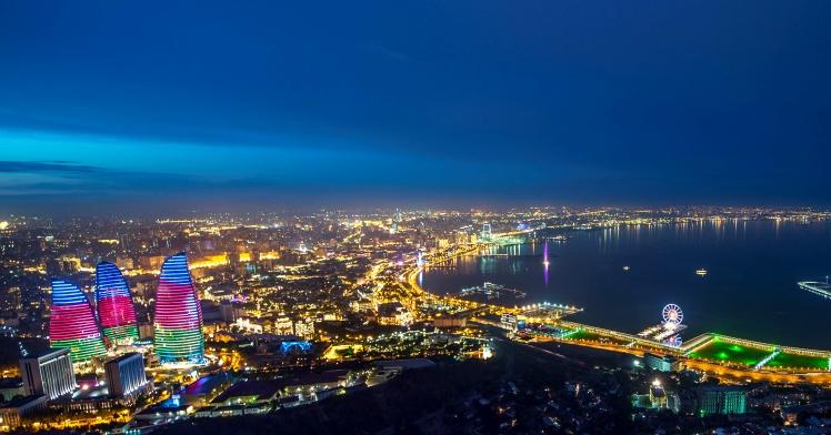 Arial view of Baku, the capital of Azerbaijan
