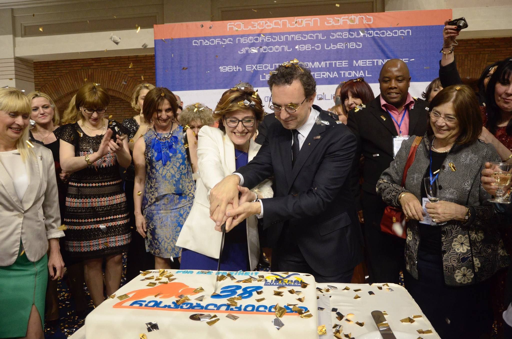 Cutting the cake at the Republican Party's 38th birthday.