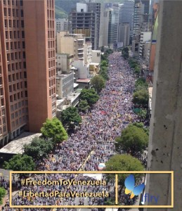 Image of the protest in Caracas, Venesuela